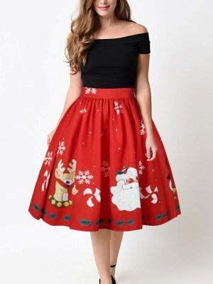 أحمر عيد الميلاد الغزلان سانتا كلوز ندفة الثلج المطبوعة عالية الخصر تنورة مطوي ميدي_4