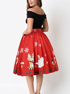 Jupe mi-longue plissée à imprimé taille haute avec imprimé de flocons de neige rouge du père Noël_5