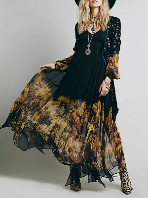 Swing Balloon Sleeve Floral-print See-through Look Maxi Dresses_1