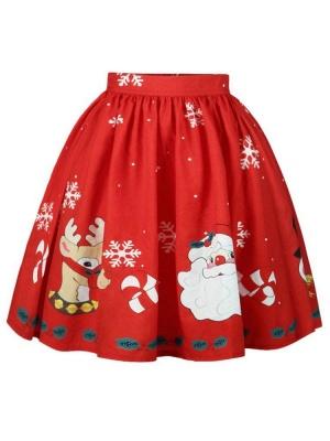 Jupe mi-longue plissée à imprimé taille haute avec imprimé de flocons de neige rouge du père Noël_1