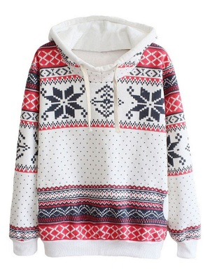 Ethnic Style Snowflakes Printed Thick Fleece Hoodies Casual Hooded Christmas Clothing for Women_8