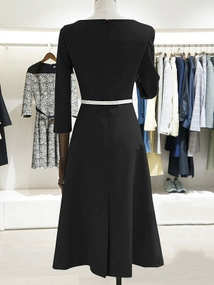 Work 3/4 Sleeve Slit Solid A-line Bateau/boat neck Midi Dress_6