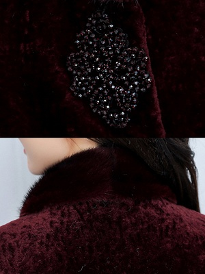 Long Sleeve Beaded Solid Buttoned Fur And Shearling Coats_7