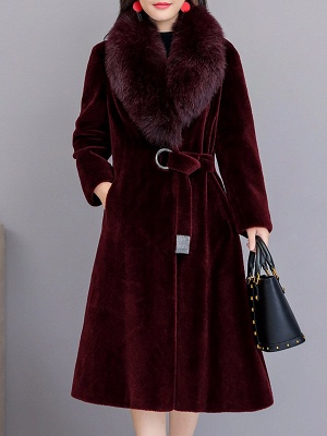Buttoned Paneled Solid Shawl Collar Fur And Shearling Coats_2