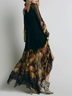Swing Balloon Sleeve Floral-print See-through Look Maxi Dresses_3