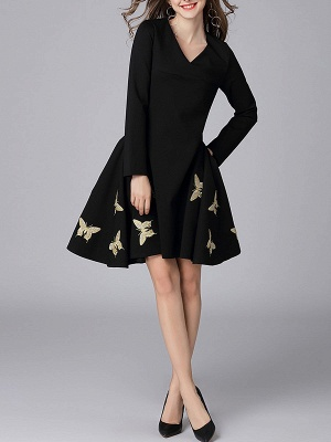 V neck A-line Daily Elegant Embroidered Animal Midi Dress_4