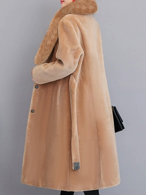 Buttoned Paneled Solid Shawl Collar Fur And Shearling Coats_7