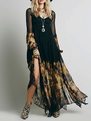 Swing Balloon Sleeve Floral-print See-through Look Maxi Dresses_5