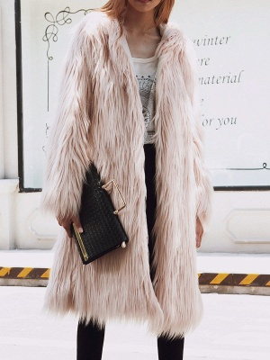 Hoodie Long Sleeve Fluffy Fur and Shearling Coat_3