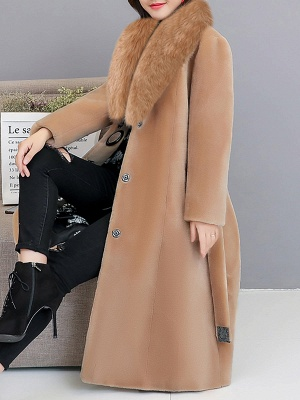 Buttoned Paneled Solid Shawl Collar Fur And Shearling Coats_13