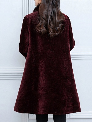 Long Sleeve Beaded Solid Buttoned Fur And Shearling Coats_4