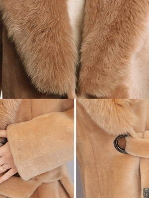 Buttoned Paneled Solid Shawl Collar Fur And Shearling Coats_9