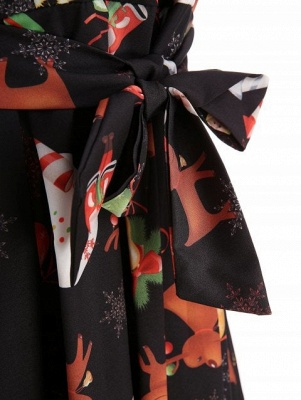 Christmas Print Belted A Line Dress_4