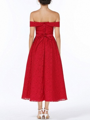 Christmas Party Long Homecoming Dresses Red Off The Shoulder Lace Midi Swing Evening Gowns Prom Dress_6