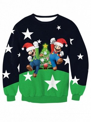 Navy and Green Star Santa Claus Christmas Tree Printed Long Sleeves Sweatshirts for Women