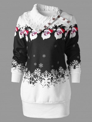 Santa Claus Printed Plus Size Tunic Sweatshirt Dress