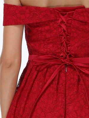 Weihnachtsfeier lange Kleider für Heimkehr rot aus der Schulter Spitze Midi Swing Abendkleider Abendkleid_8