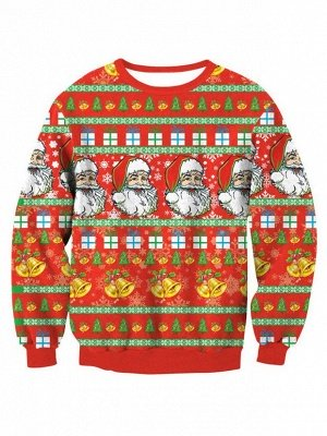 Orange Santa Claus Printed Long Sleeves Cute Christmas Sweatshirts for Women