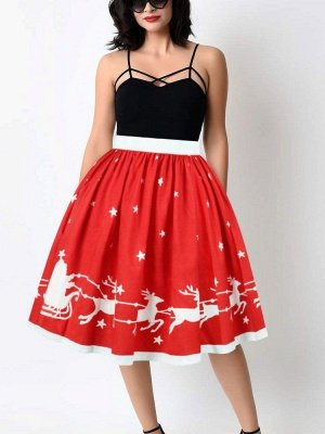 Red Christmas Elk Star Printed High Waist Zip Midi Pleated Puff Skirt