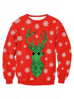 Women's Cute Christmas Elk Snowflake Printed Red Long Sleeves Sweatshirts