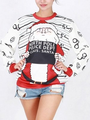 White Santa Claus Letter Printed Stripes Long Sleeves Christmas Sweatshirt