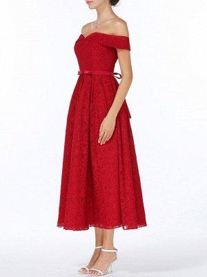 Weihnachtsfeier lange Kleider für Heimkehr rot aus der Schulter Spitze Midi Swing Abendkleider Abendkleid_5