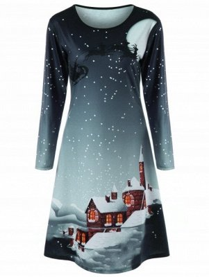 Christmas Plus Size Graphic Long Sleeve Tee Dress