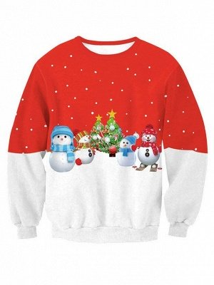 Red and White Snowman Christmas Tree Printed Long Sleeves Sweatshirts for Women