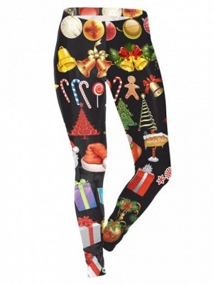 Black Printed Feet Pants Christmas Leggings for Women