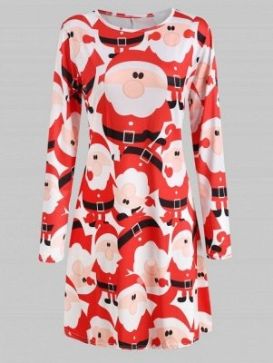 Long Sleeve Printed Jersey Christmas Dress