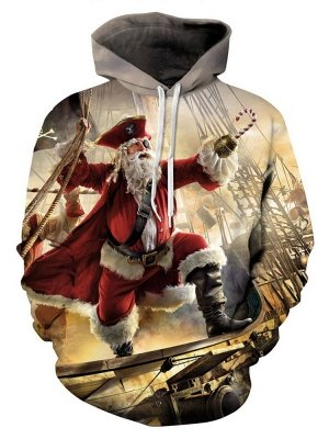 Ugly Christmas Plus Size Couple Hoodies Santa Claus Pirate Fashion Printed Hooded Clothes for Men/Women