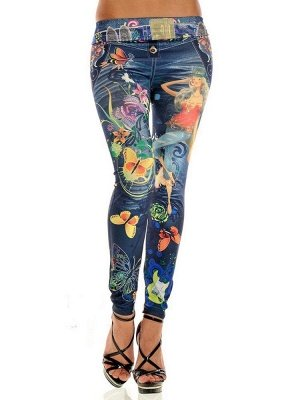Seamless Faux Denim Colored Printed Tattoo Leggings