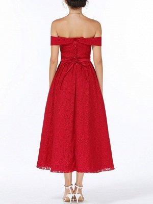 Weihnachtsfeier lange Kleider für Heimkehr rot aus der Schulter Spitze Midi Swing Abendkleider Abendkleid_6
