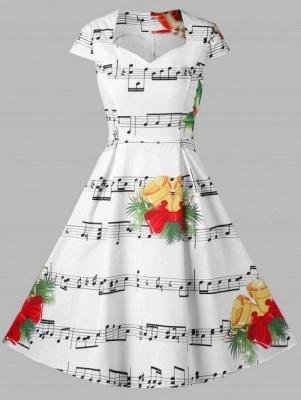 Cloche de Noël et robe imprimée note de musique_1