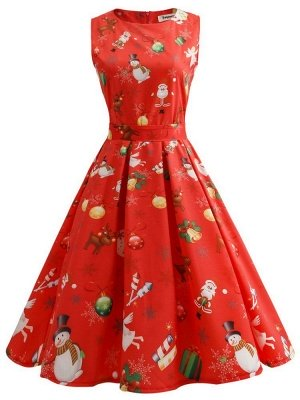 Red Sleeveless Vintage Audrey Hepburn Christmas Printed Midi Party Swing Summer Dresses