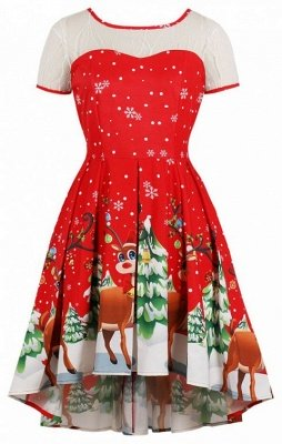 Bud Silk Joining Together Snowflakes Elk Christmas Dress
