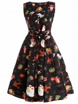 Christmas Print Belted A Line Dress