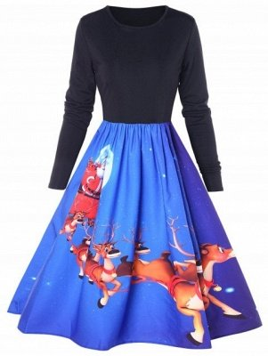 Christmas Elk Print Long Sleeve Swing Dress