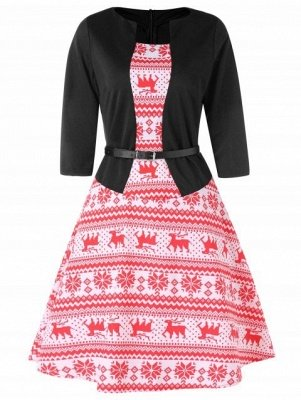 Christmas Elk Print Flare Dress