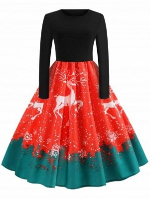 Christmas Reindeer Snowflake Pin Up Dress