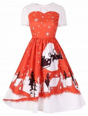A Line Knee Length Printed Christmas Dress