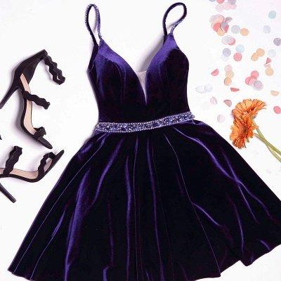 Einfache A-Linie Spaghetti-Trägern Homecoming Kleider Samt Crystal Hoco Kleid BA7062_2