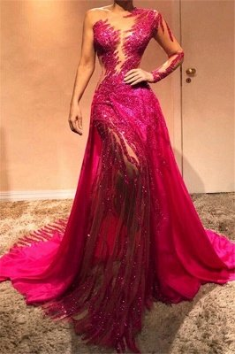 Beautiful One Shoulder Sequins Fuchsia Evening Dresses with Sleeves | Sexy Mermaid Affordable Prom Dresses BC0504_1