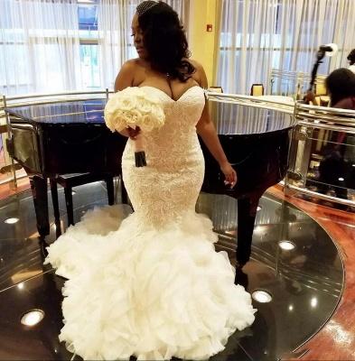 Robes de mariée en dentelle sexy sirène chérie 2021 | Robe de mariée pas cher en tulle à volants_3