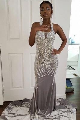 Halter Sparkle Crystal Sliver Prom Dresses | Fit and Flare Alluring Backless Evening Gowns_2