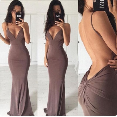 Sexy Backless Sheath Long Evening Dress | Spaghetti Strap Formal Dresses BA3549_3