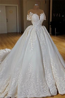 Short Sleeve Lace Appliques Wedding Dresses Cheap   Princess Ball Gown Wedding Dresses with Long Train