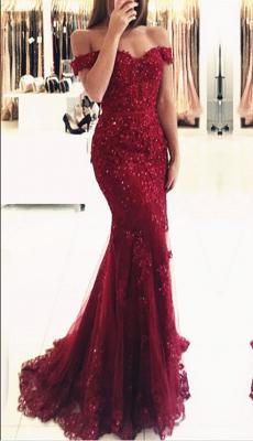 Appliques de dentelle glamour robe de soirée sirène rouge appliques_3