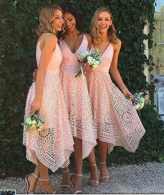 Newest Lace Spaghetti-Strap Sleeveless A-line Tea-Length Bridesmaid Dress_2