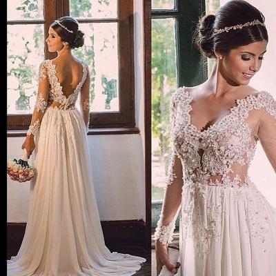 Vestido de novia sin espalda de encaje de gasa con cuello en V una línea simple_2